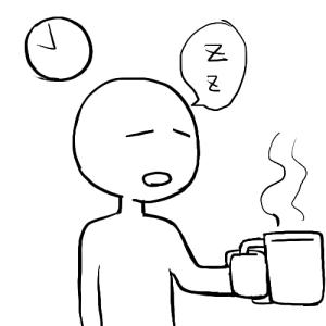 コーヒーを飲んで無理に覚醒